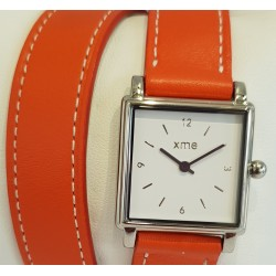 Bracelet double tour cuir orange