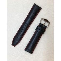Bracelet Veau façon alligator noir couture rouge